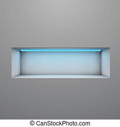esposizione, mensola, illuminato, con, luce neon, vettore,...