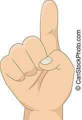 esposizione, numero, bambino, 1, segno mano