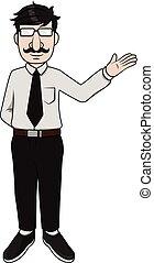esposizione, presentazione, uomo affari