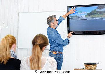 esposizione, uno, guida, video
