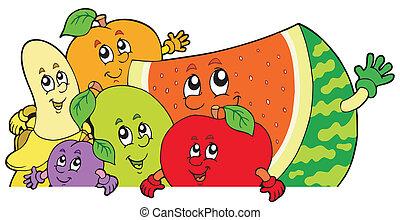 espreitando, caricatura, frutas