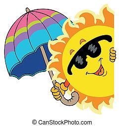 espreitando, sol, com, guarda-chuva