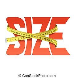 espremido, fita, tamanho, palavra, medida