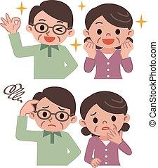 espressione, coppia, set, anziano