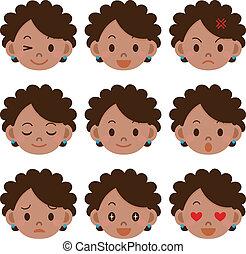 espressione, donna, facciale