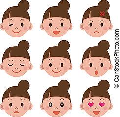 espressione facciale, di, il, donna