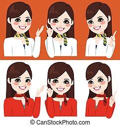 espressione, hostess, mani