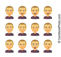 espressione, set, maschio, avatar