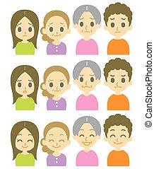 espressioni, bambini, genitori, due