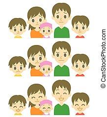 espressioni, bambini, genitori, tre
