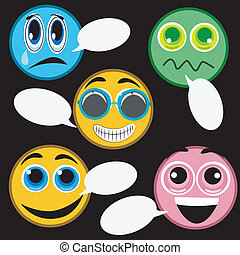 espressioni, cinque, facciale, icone