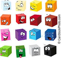 espressioni, colorare, cubi, molti