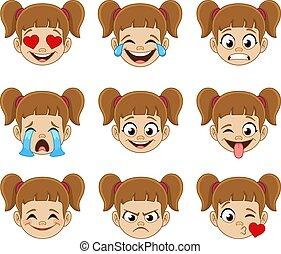 espressioni, faccia, ragazza, emoji