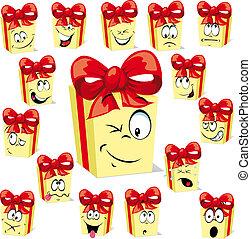 espressioni, regalo, cartone animato, molti