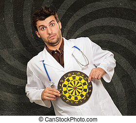 espressivo, giovane dottore, presa a terra, occhio tori