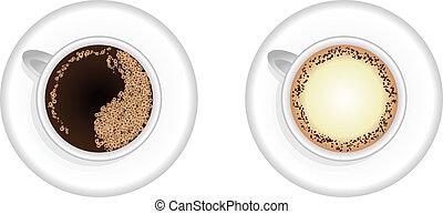 Espresso and Cappuccino coffee cup vector.