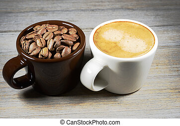 espresso and cup of coffee beans