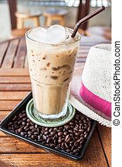 espresso, barra caffè, vetro, ghiacciato
