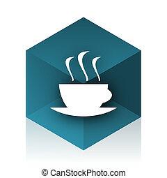 espresso blue cube icon, modern design web element