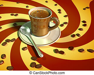 Espresso coffee - Coffee cup and coffee beans on a colorful...