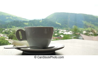 Espresso coffee cup view