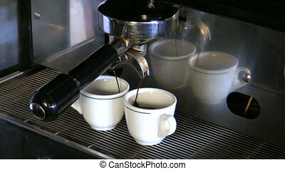 Espresso machine brewing coffee. 30 fps
