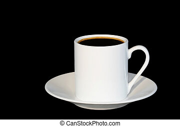 White china espresso coffee cup and saucer against a black background..
