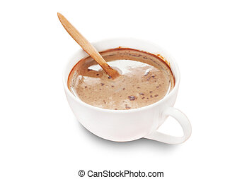 Espresso coffee in cup of coffee isolated, Clipping path
