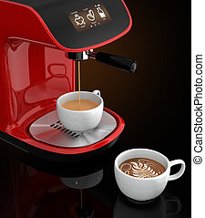Espresso coffee machine and cup