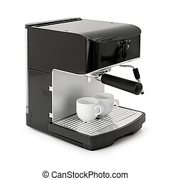 Stylish black espresso coffee making machine with cups isolated on white background