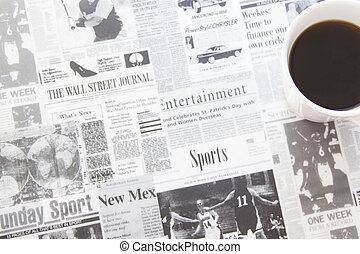 Espresso coffee on newspaper pattern