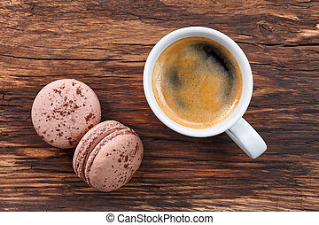 Espresso coffee with macarons