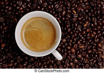espresso, feijões, chícaras