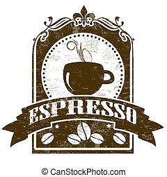Espresso grunge stamp - Grunge stamp with coffee cup, beans...