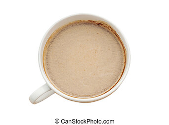 Espresso in a cup of coffee isolated, Clipping path