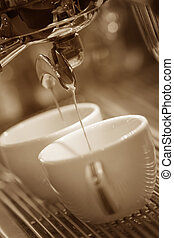 Espresso machine brewing a coffee espresso