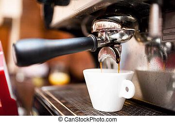 Espresso machine making coffee at restaurant