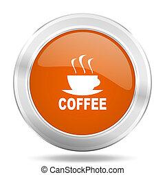 espresso orange icon, metallic design internet button, web and mobile app illustration