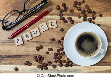 Espresso Pause concept background on wood.