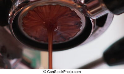 espresso preparing with professional bottomless filter, handheld footage prores