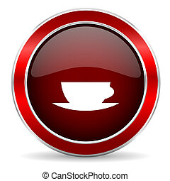 espresso red circle glossy web icon, round button with metallic border