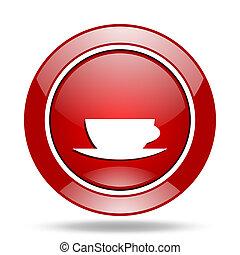 espresso red web glossy round icon