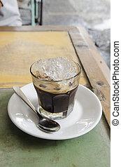 espresso, skott, med, is