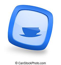 espresso square glossy blue web design icon