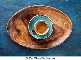 espresso - Espresso Coffee Drink in cup on a wooden tray....
