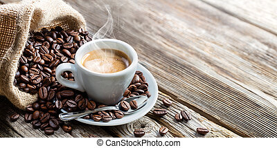 espresso, taza, vendimia, granos de café, tabla