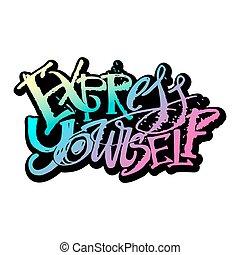 espresso, te stesso, mano, poster., concetto, iscrizione, motivazione