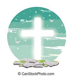 esprit, ciel, symbole, bleu, mouches, saint, chrétien, colombe, lumière, ciel
