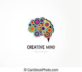 esprit, coloré, numérique, symbole, résumé, icône, cerveau humain, créatif
