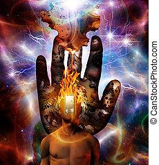 esprit, cosmique, brûlé, espace